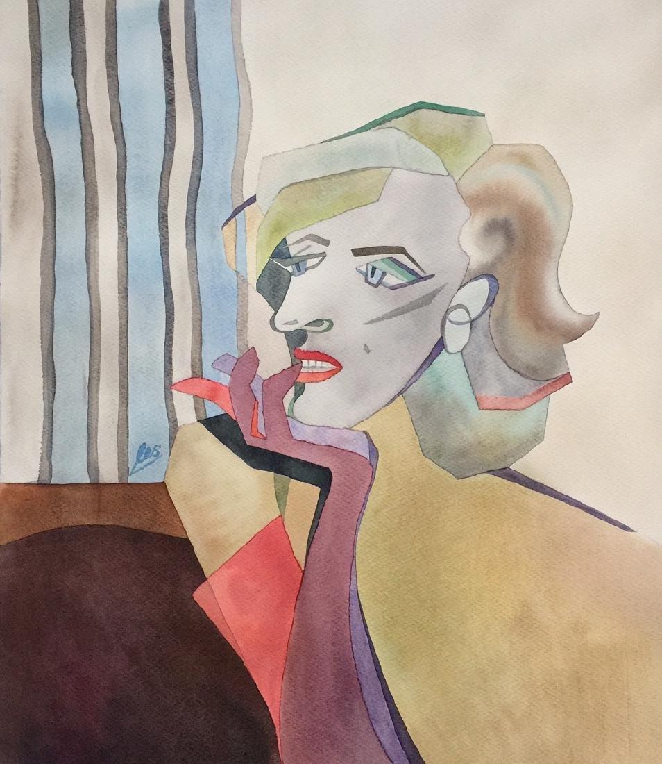 Original watercolor by artist, Marilyn Monroe, cubism