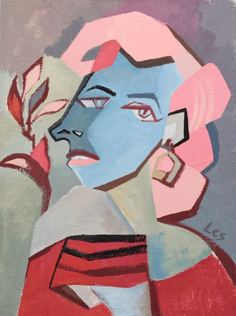 Original painting tempera on canvas woman cubism style