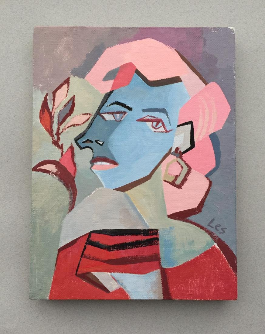 Original painting tempera on canvas woman cubism style - 2
