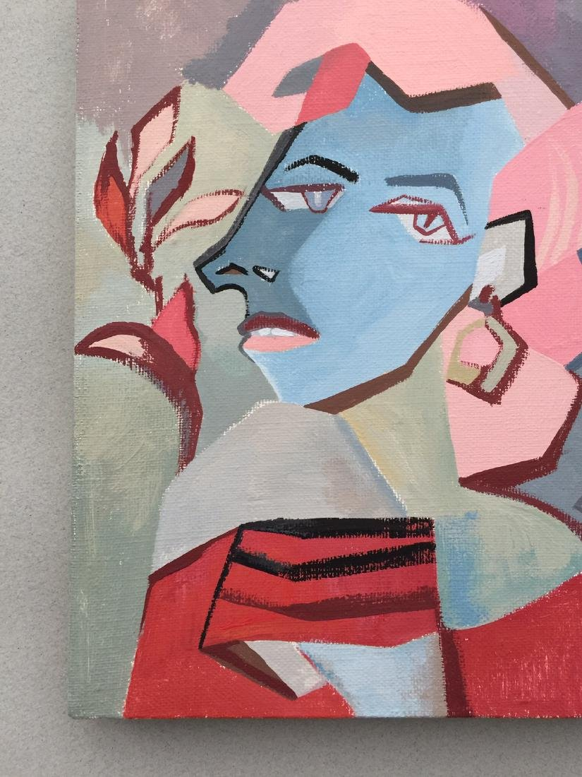 Original painting tempera on canvas woman cubism style - 3