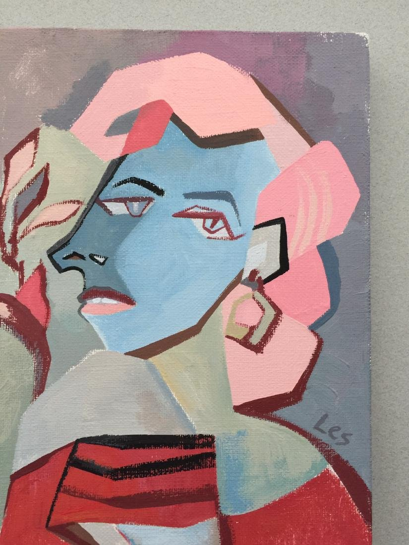 Original painting tempera on canvas woman cubism style - 4