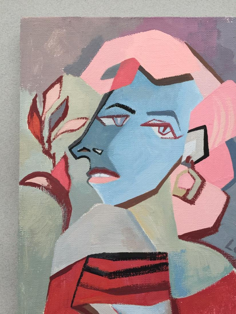 Original painting tempera on canvas woman cubism style - 5