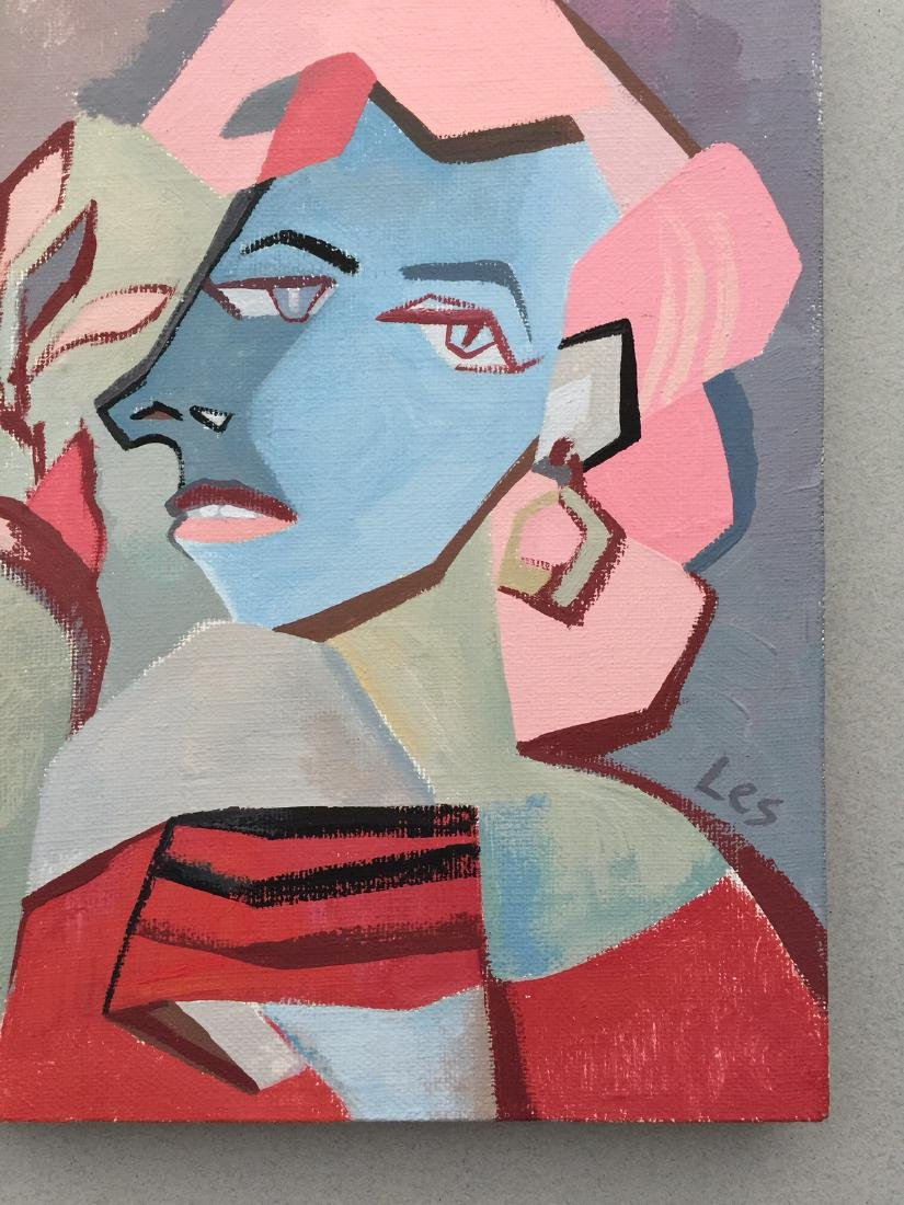 Original painting tempera on canvas woman cubism style - 6