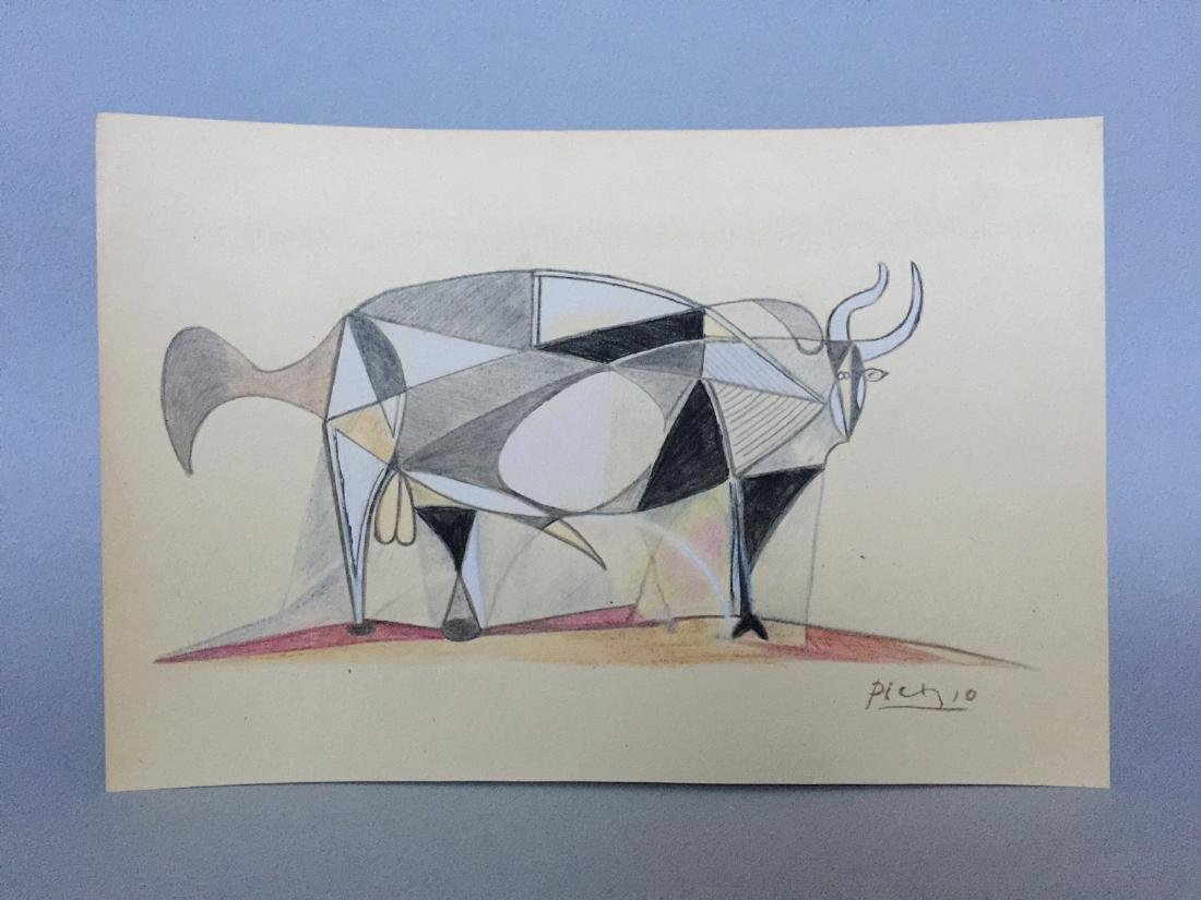 Mixed media on paper Pablo Picasso in the cubism style - 5