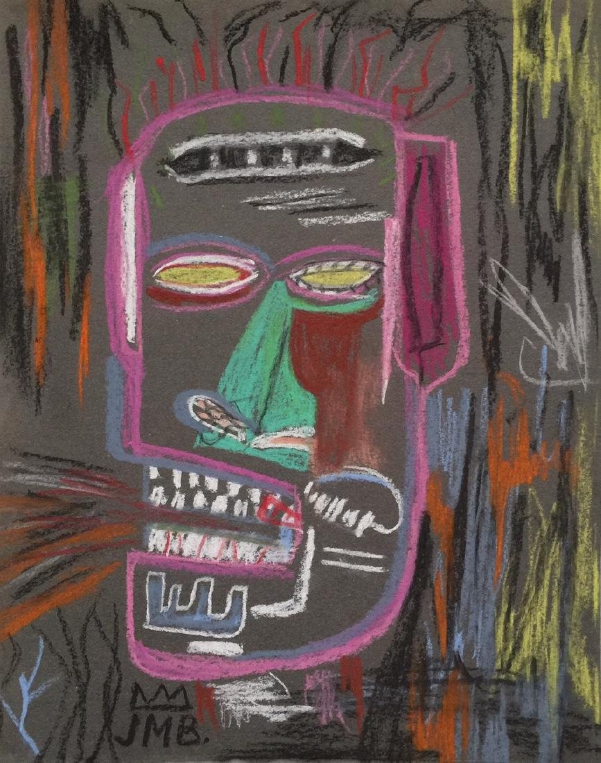 Mixed media on paper Jean-Michel Basquiat style
