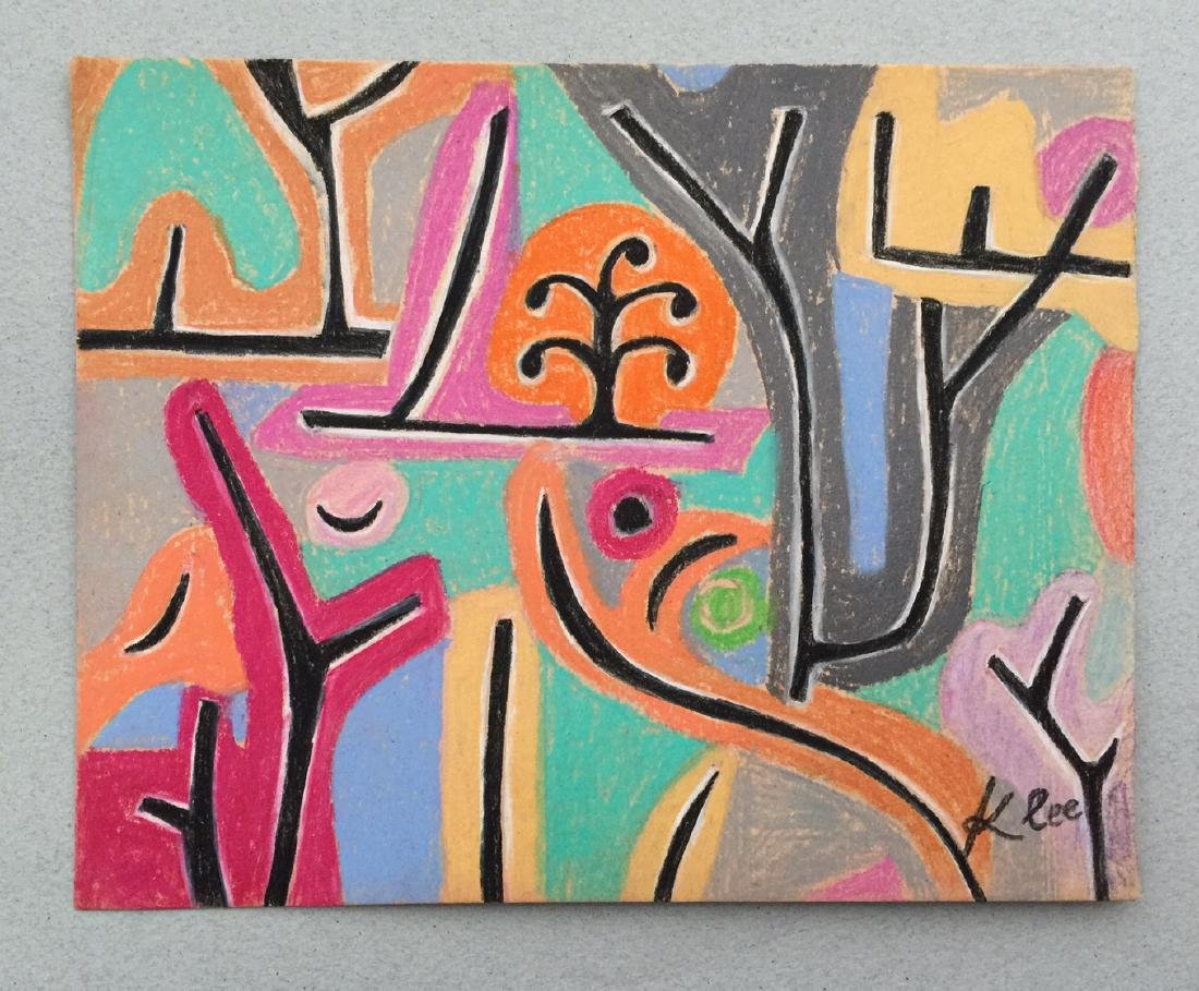 Mixed media on paper Klee style drawing - 2
