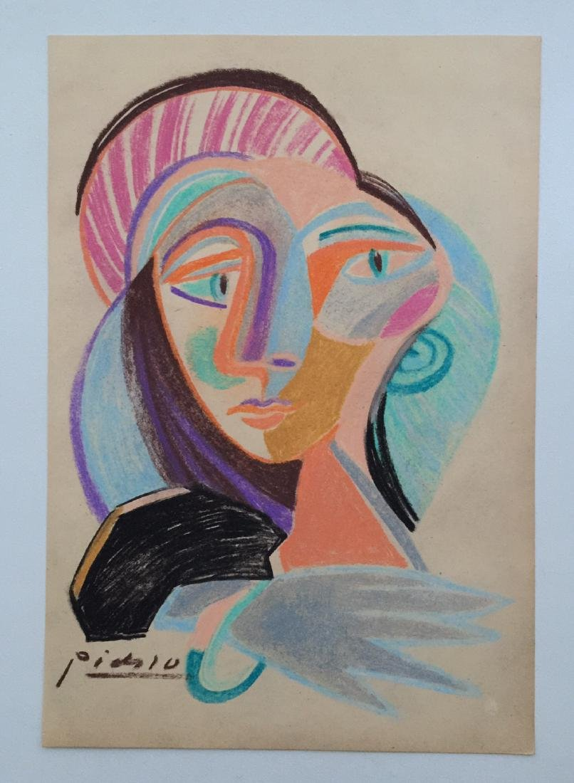 Mixed media on paper Pablo Picasso style - 2
