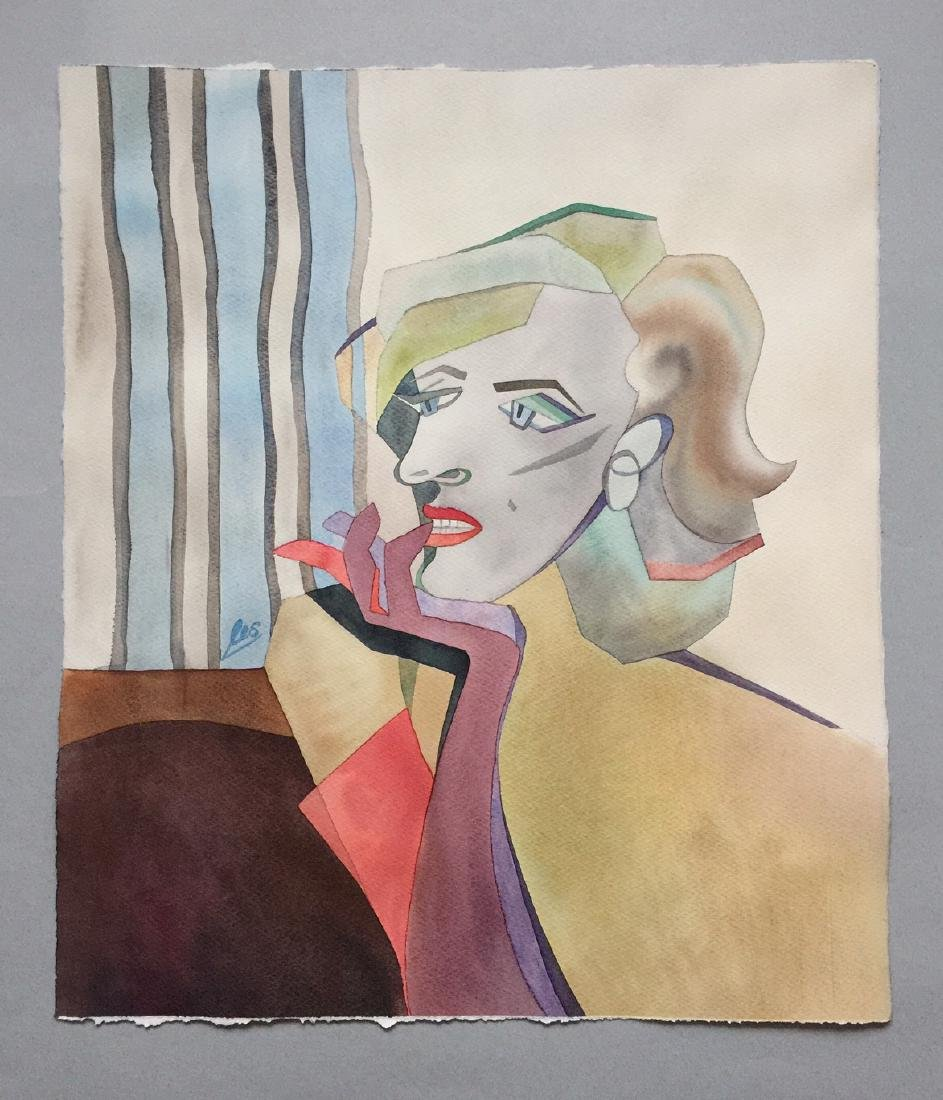 Original watercolor by artist, Marilyn Monroe, cubism - 2