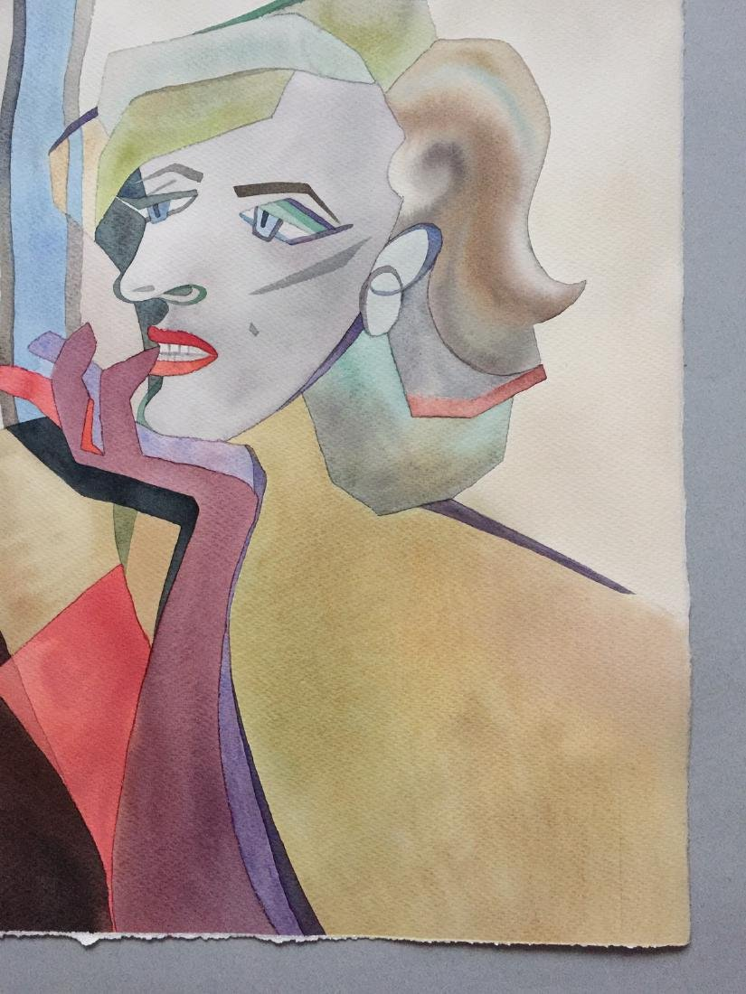 Original watercolor by artist, Marilyn Monroe, cubism - 3