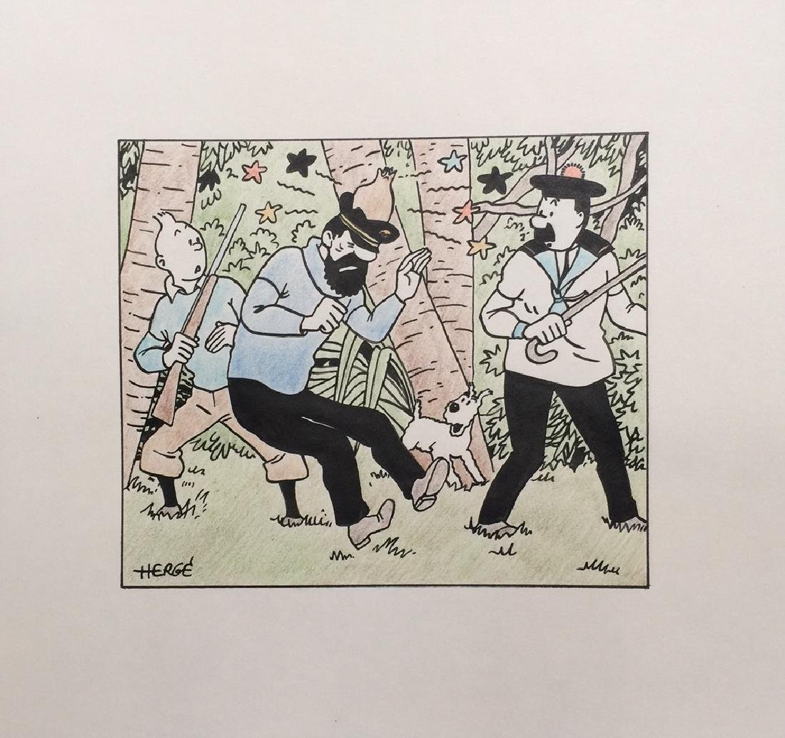 Ink drawing and crayon on paper Herge style