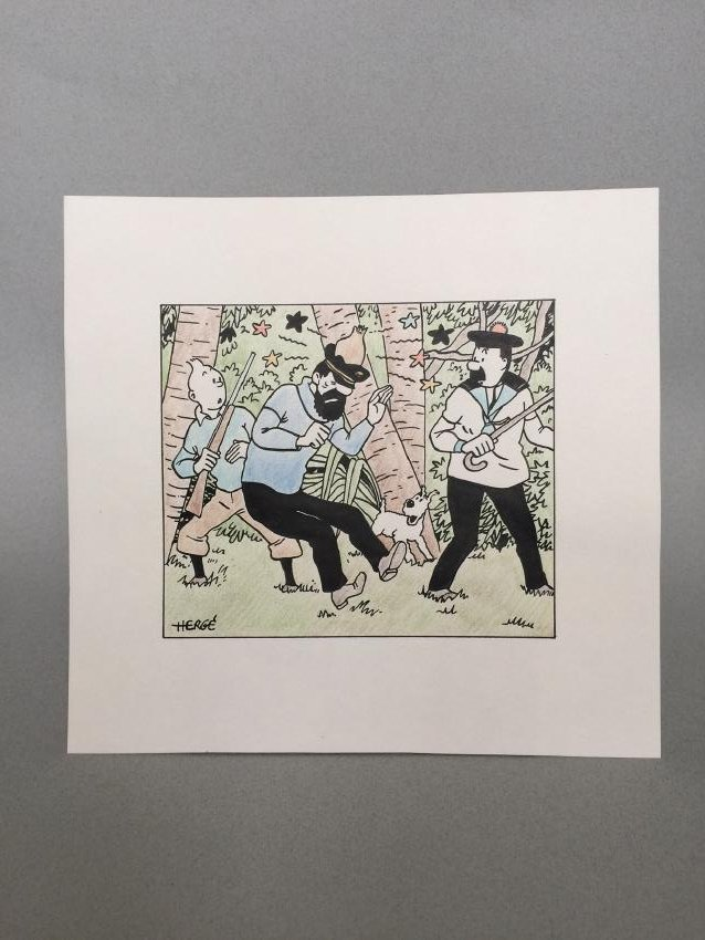 Ink drawing and crayon on paper Herge style - 2