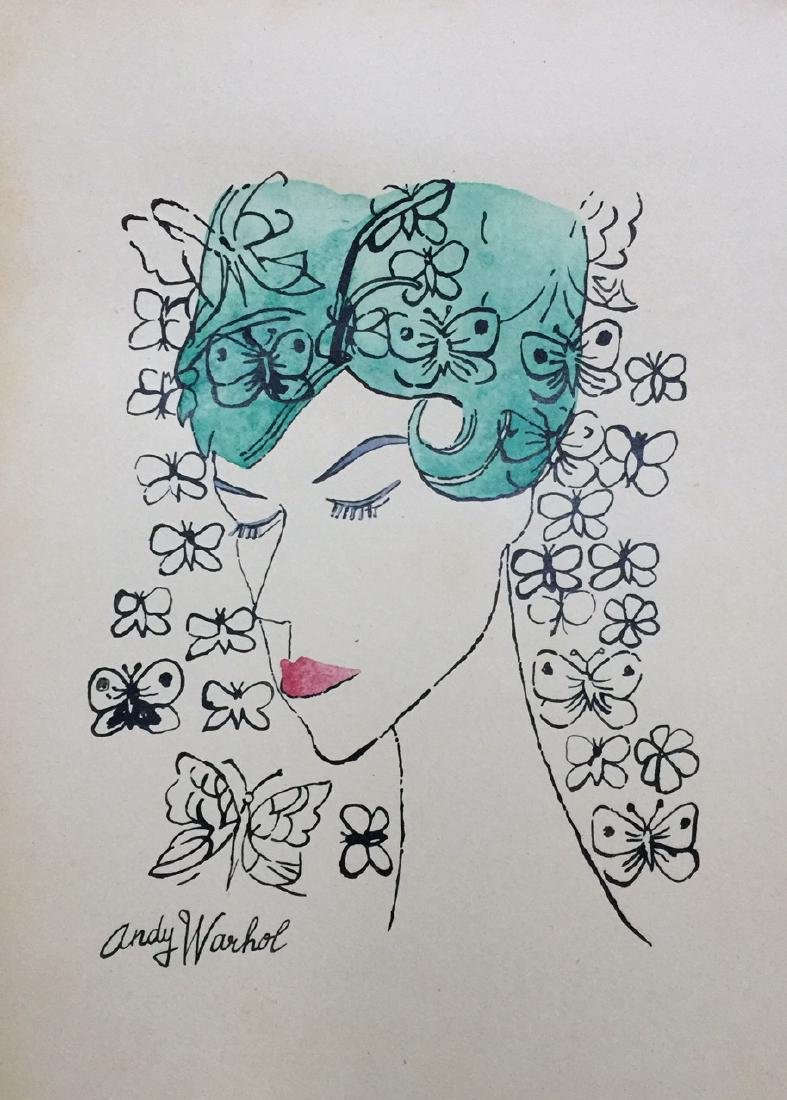 Ink, watercolor on paper signed Andy Warhol
