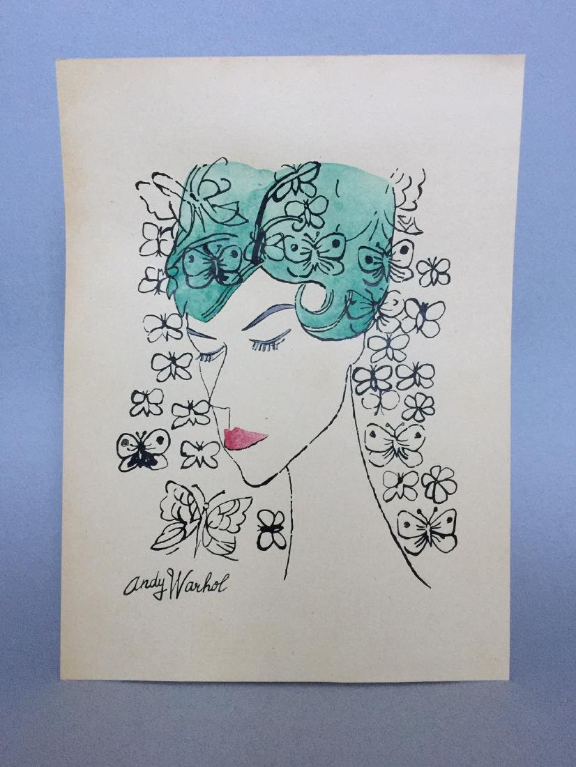 Ink, watercolor on paper signed Andy Warhol - 2