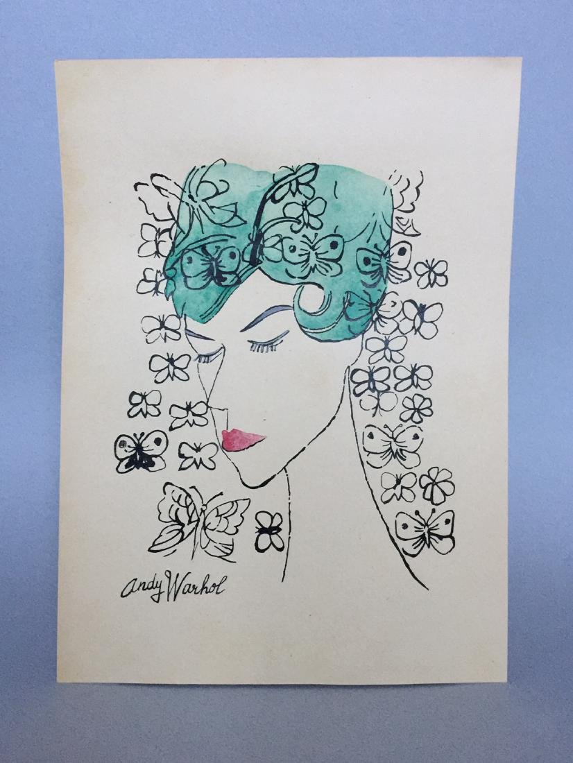 Ink, watercolor on paper signed Andy Warhol - 6
