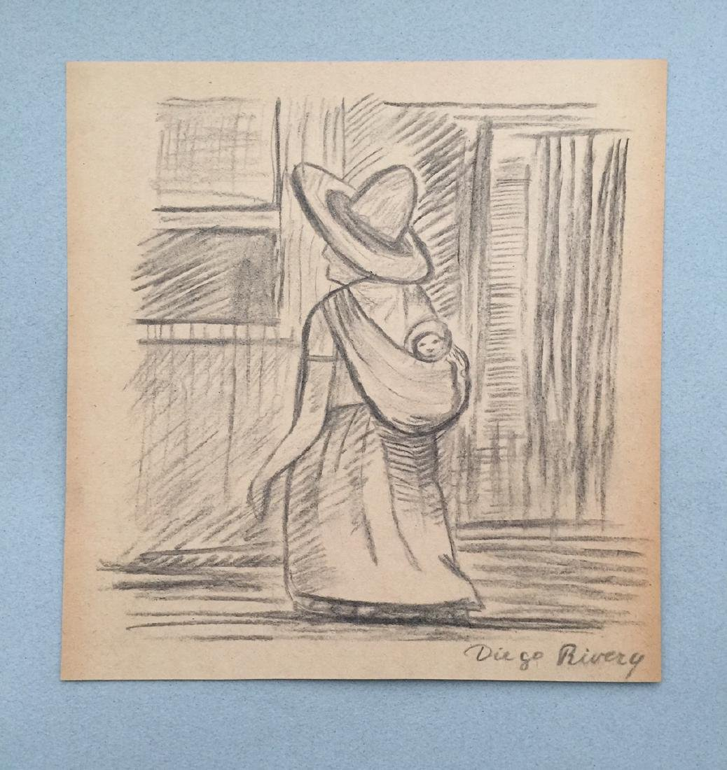 Crayon on paper Diego Rivera style drawing - 2