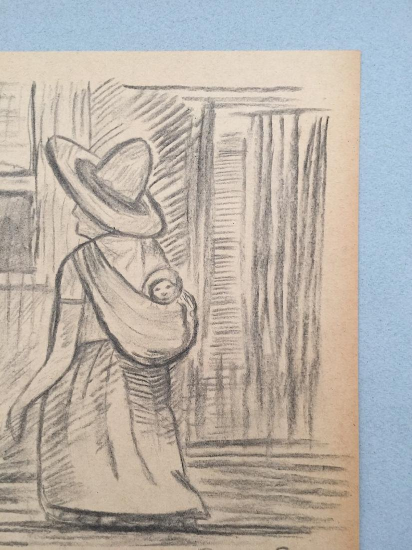 Crayon on paper Diego Rivera style drawing - 3