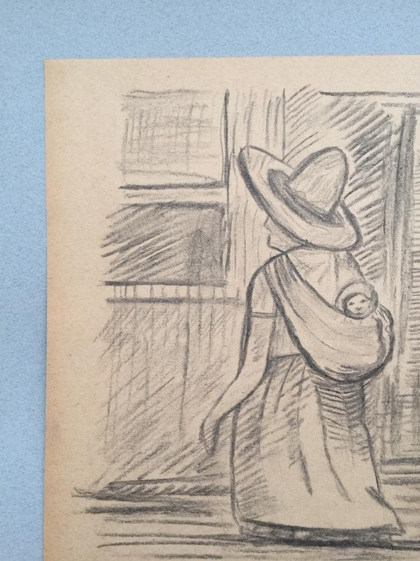 Crayon on paper Diego Rivera style drawing - 5