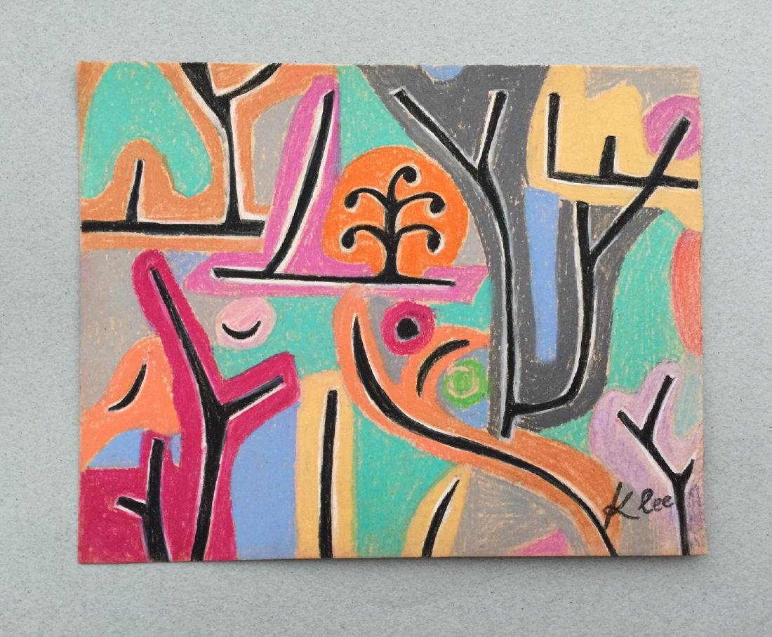 Mixed media on paper Klee style drawing - 3