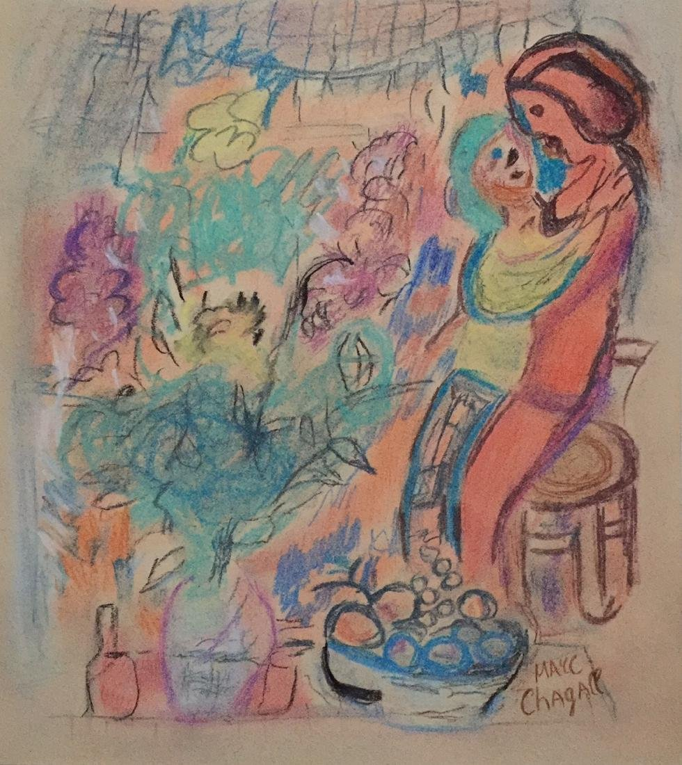 Marc Chagall mixed media on paper style