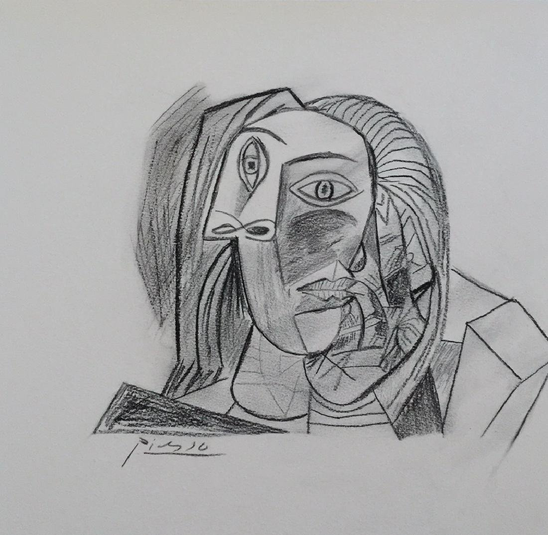 Charcoal on paper Pablo Picasso style
