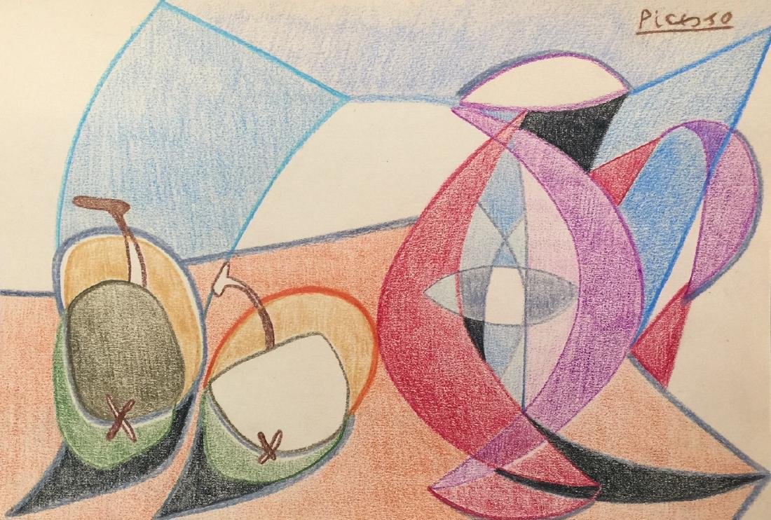 Pablo Picasso crayon on paper still life