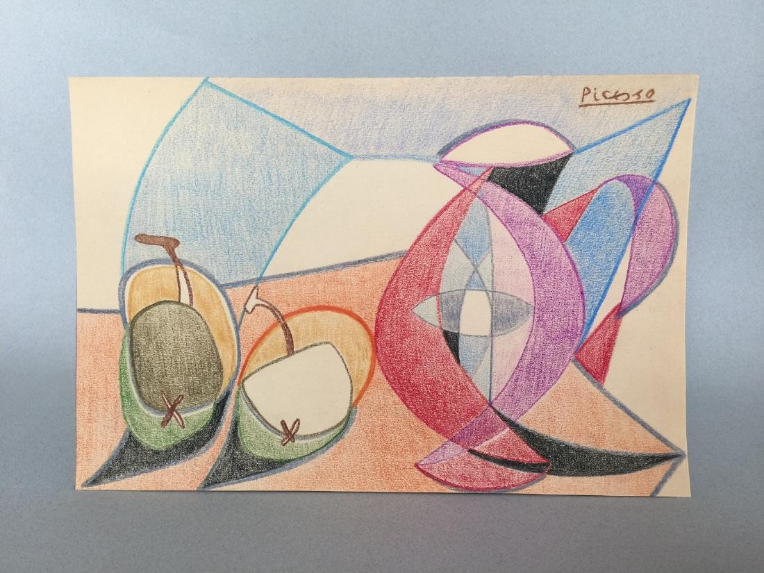 Pablo Picasso crayon on paper still life - 2