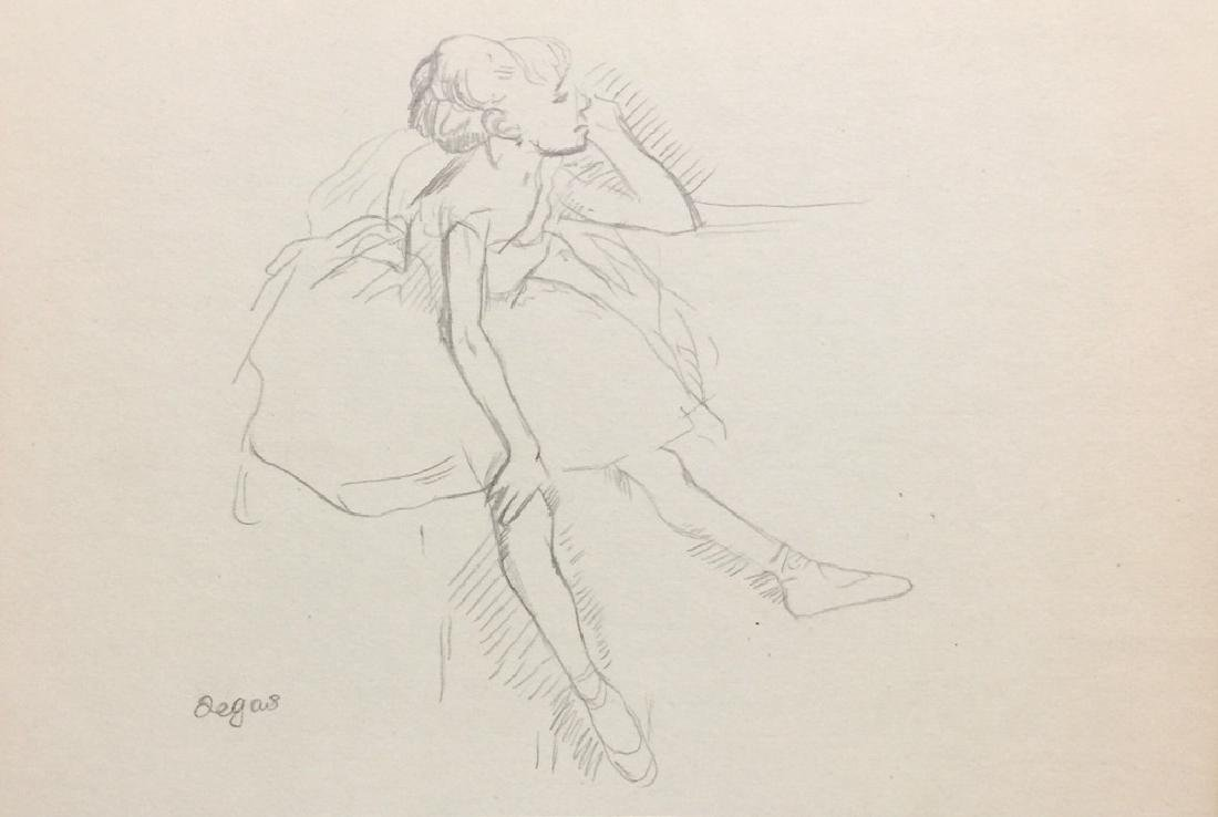 Crayon on paper signed Degas style