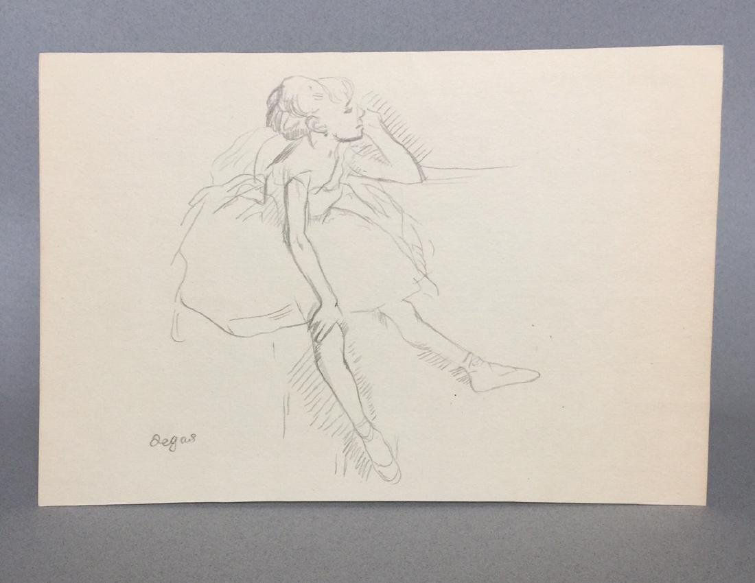 Crayon on paper signed Degas style - 2