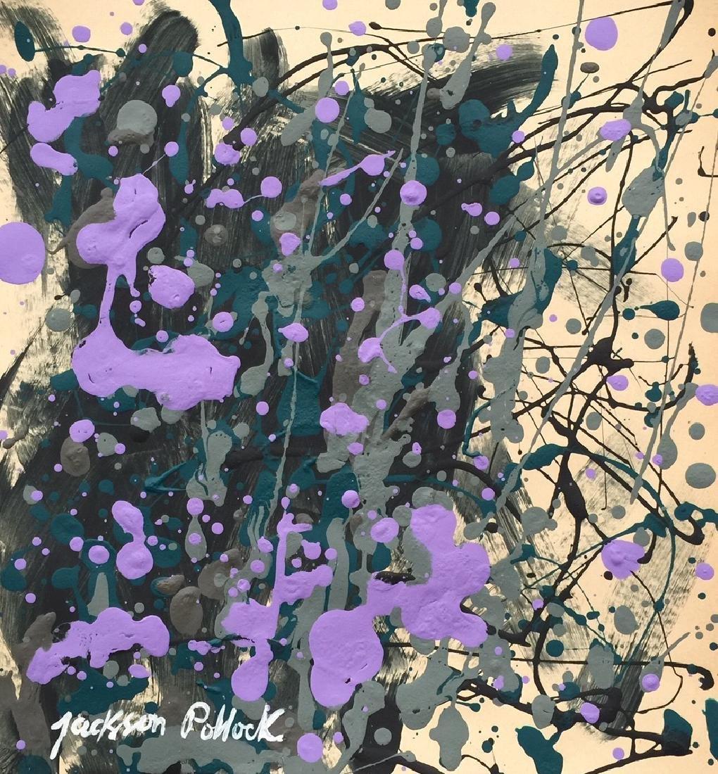 Jackson Pollock mixed media on paper style