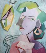 Original painting oil on canvas woman portrait cubism