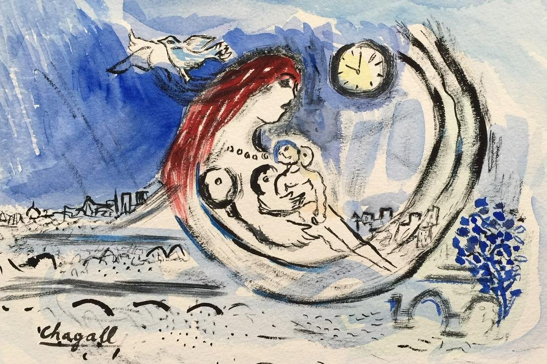 Mark Chagall watercolor on paper style