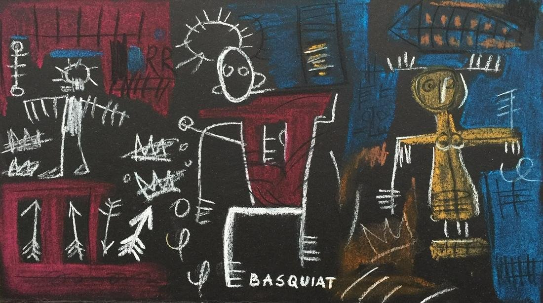 Jean-Michel Basquiat mixed media on thin cardboard US