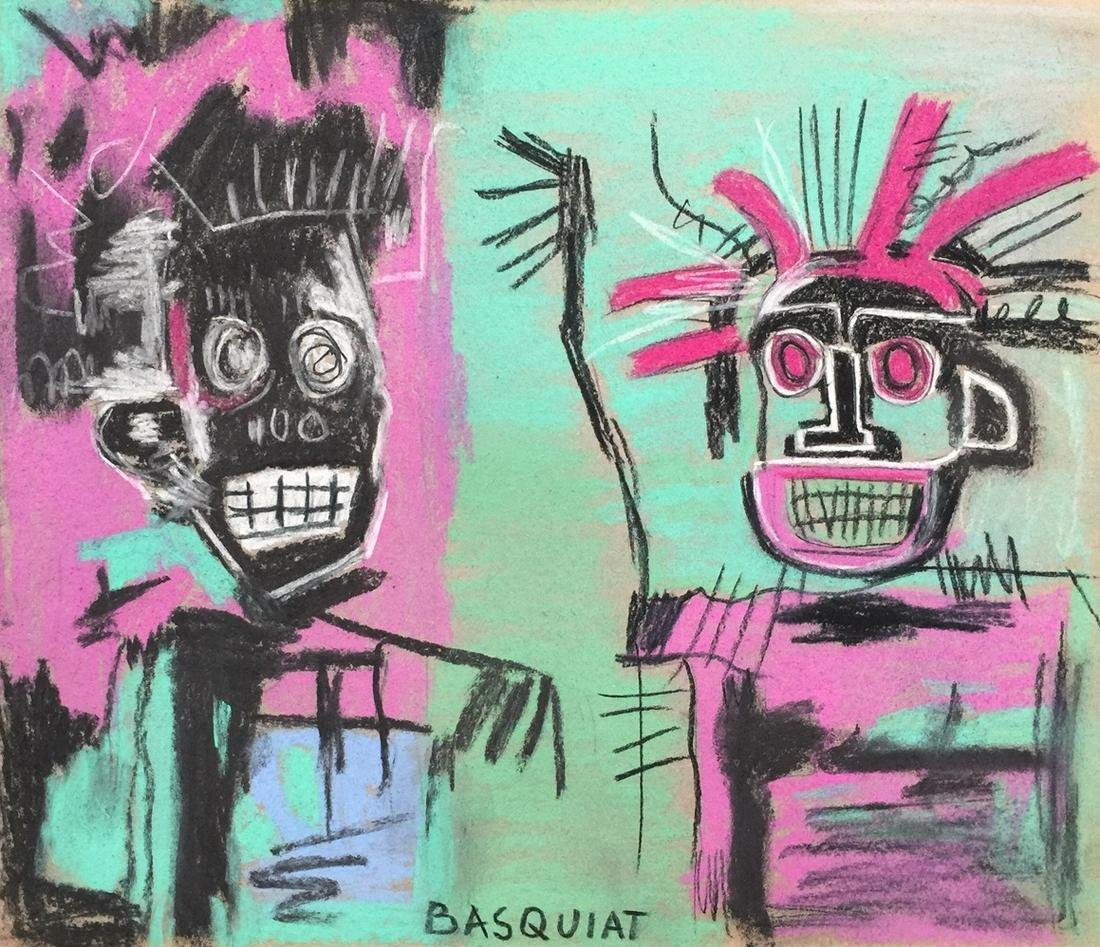Jean-Michel Basquiat mixed media on cardboard American