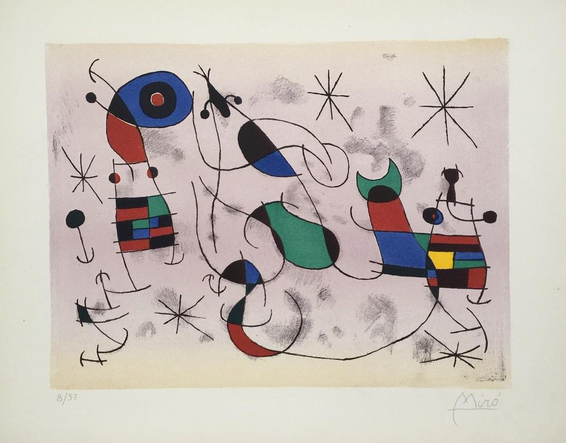 Joan Miro lithograph abstract art