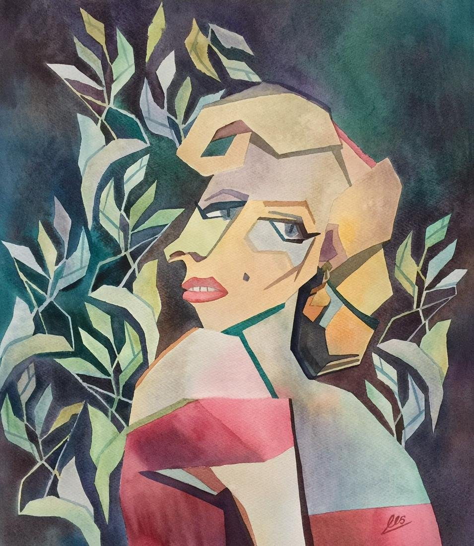 Marilyn Monroe watercolor on paper cubism signed art