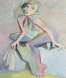 Original painting oil on canvas nude woman Cubism