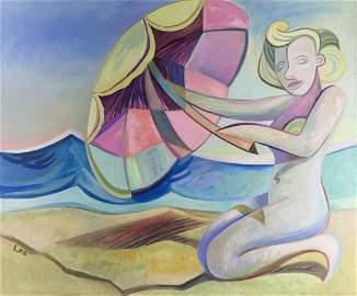 Original Oil on Canvas Naked Marilyn Monroe, beach