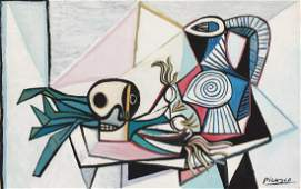 Pablo Picasso mixed media on paper still life Cubism