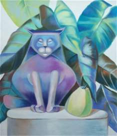 Pastel painting on canvas cat with leaves