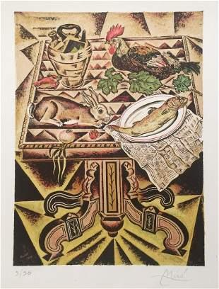 Joan Miro lithograph abstract art Spanish surrealism