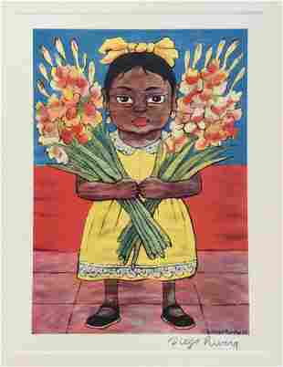 Diego Rivera offset print lithograph girl with flowers