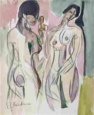 Ernst Ludwig Kirchner mixed media on paper