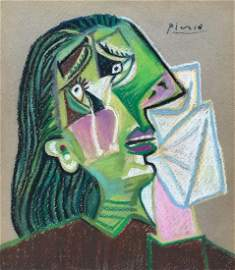 Pablo Picasso pastel on paper Cubism crying woman
