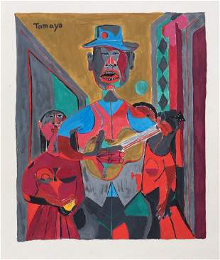 Rufino Tamayo gouache on paper Cubism style