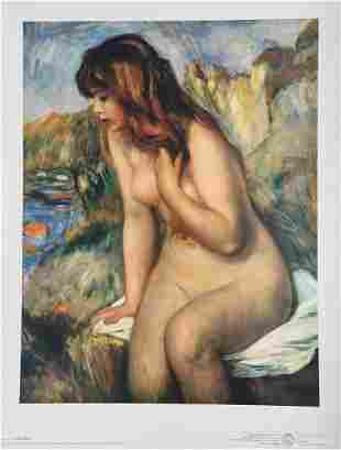 Litho print nude woman Auguste Renoir Impressionism