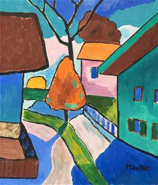 Gabriele Munter tempera on paper German Expressionist