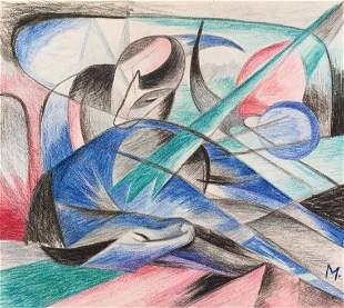 Franz Marc crayon on paper German