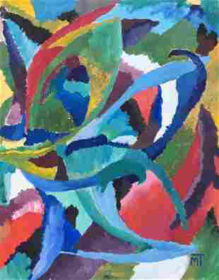 Janos Mattis-Teutsch painting on paper abstract art
