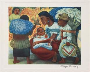 Diego Rivera vintage litho Mexican family scene, baby