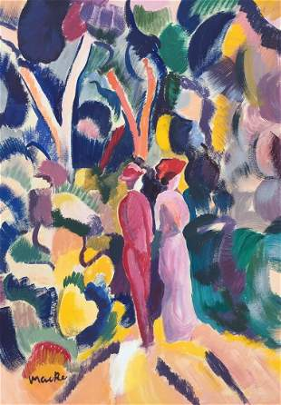 August Macke tempera on paper German Expressionism